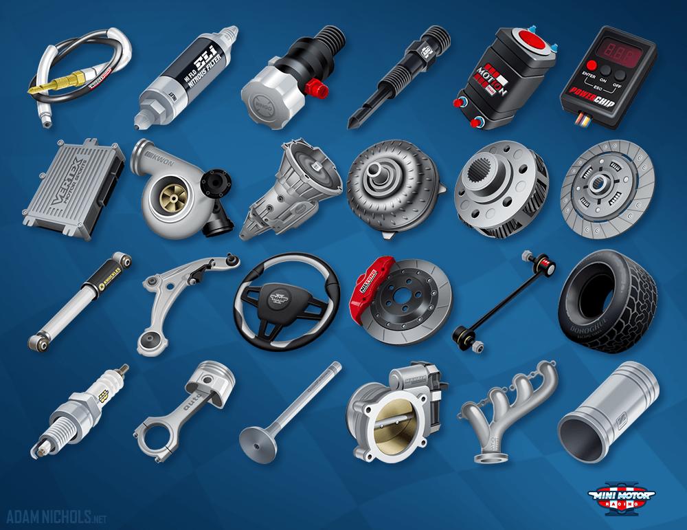 Mini Motor Racing 2 Parts Upgrade Icons