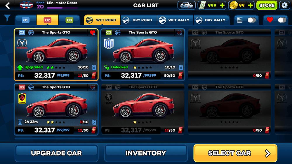 Mini Motor Racing 2 UI Design: Garage (Default) Screen Concept