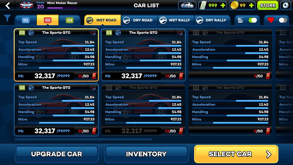 Mini Motor Racing 2 UI Design: Garage (Stats) Screen Concept