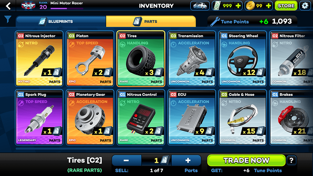 Mini Motor Racing 2 UI Design: Inventory (Parts) Screen Concept