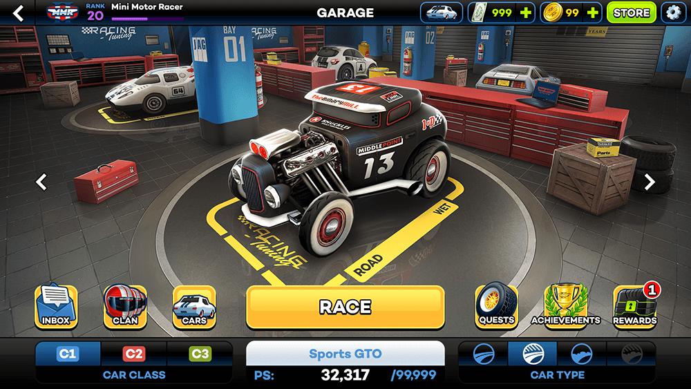 Mini Motor Racing 2 UI Design: Lobby Screen Concept