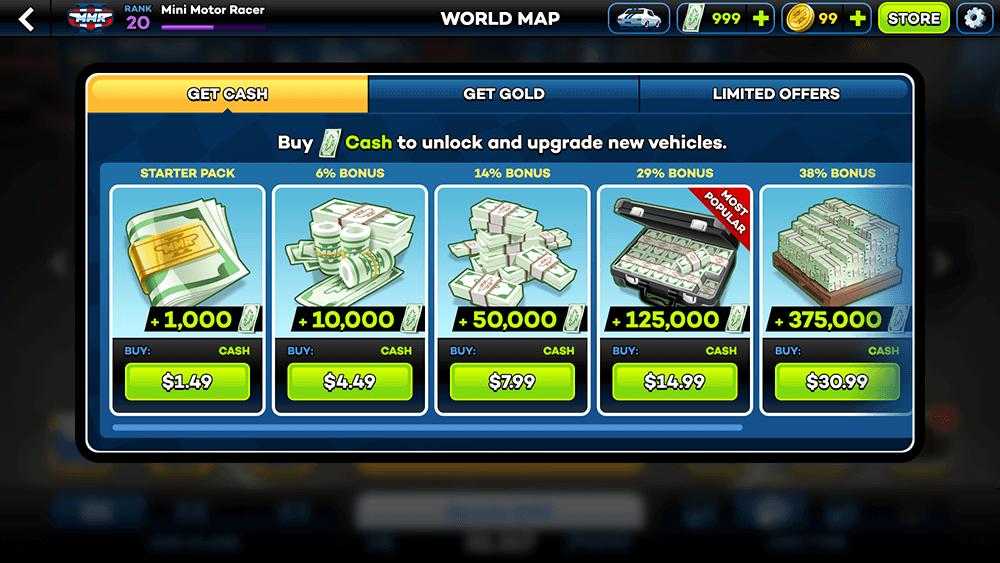 Mini Motor Racing 2 UI Design: Store (Cash) Screen Concepts