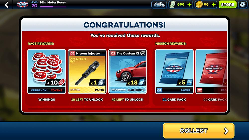 Mini Motor Racing 2 UI Design: Race Rewards Screen Concept