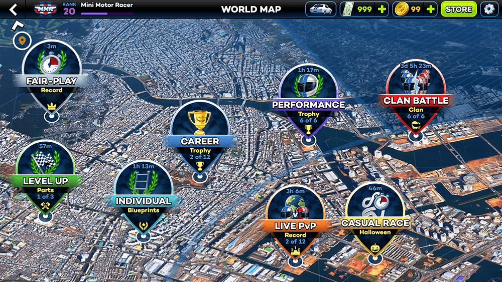Mini Motor Racing 2 UI Design: World Map Screen Concept