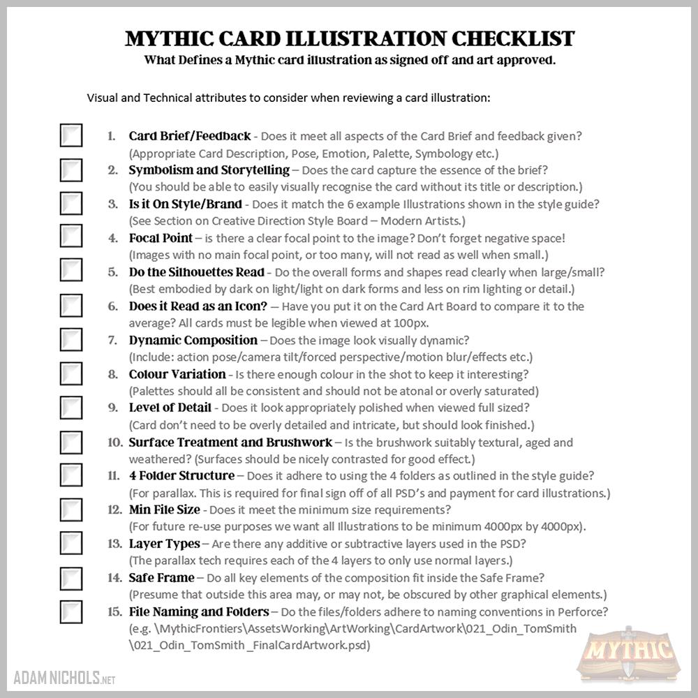 Mythic - Card Artwork Checklist