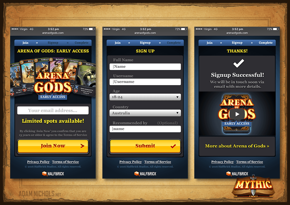 Mythic - Website: Early Access Signup